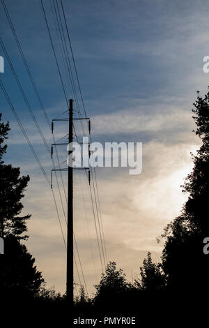 Pole type high tension electrical transmission tower with lines and insulators. Tower is seen in silhouette against partly cloudy sky. - Stock Photo