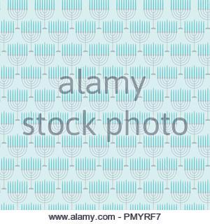 menorah pattern on light blue background - Stock Photo