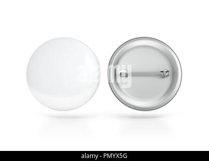 Blank white button badge mockup, front and back side, clipping path, 3d rendering. Empty clear pin emblem mock up. Round plastic volunteer label. Vote - Stock Photo