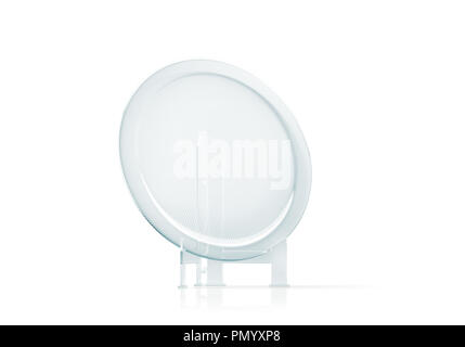Blank glass trophy mockup stand on clear marble base, 3d rendering