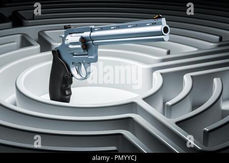 Revolver, gun inside labyrinth maze. Hidden threat concept. 3D rendering - Stock Photo