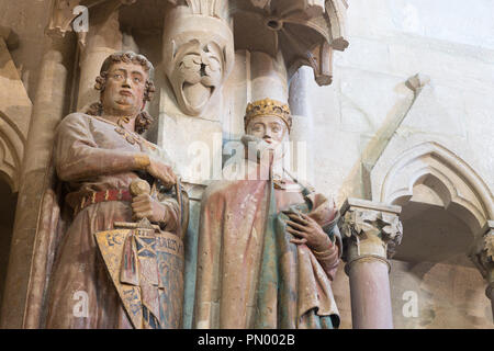 Naumburg, Germany - September 14, 2018: View of the founder figures Margrave Ekkehard II and his wife Uta in Naumburg Cathedral. There are a total of  - Stock Photo