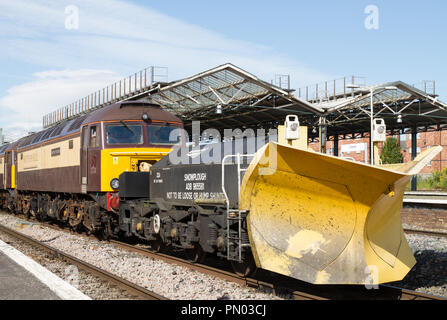 Direct Rail Services Class 57 locomotives with Network Rail snow ploughs ready for the winter weather keeping the railway safe and clear of snow. - Stock Photo