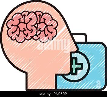 profile human head brain suitcase medical aid - Stock Photo