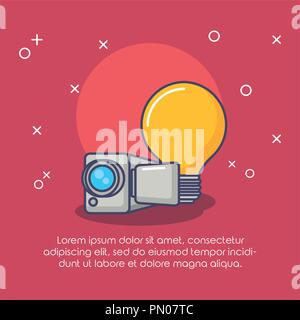bulb creativity camera device innovation technology vector illustration Stock Photo
