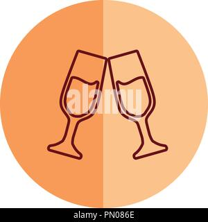 champagne toast cups drink celebration vector illustration - Stock Photo