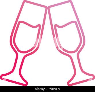 champagne toast cups drink celebration vector illustration neon - Stock Photo