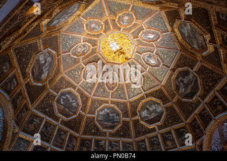 Heraldry Room in the Interior of the Palacio Nacional de Sintra, the national palace, Sintra, Portugal - Stock Photo