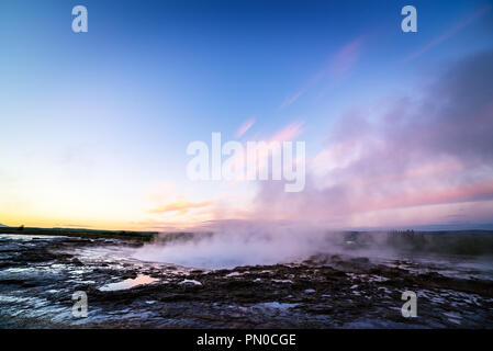 Strokkur geyser. Golden circle Iceland. Geothermal area in valley Haukadalur - Stock Photo