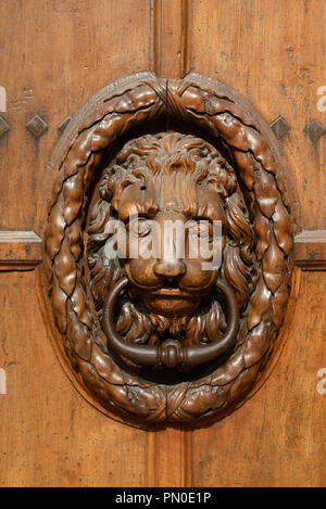 Carved Wooden Lion Head Door Knocker on the Main Entrance Door to the Town Hall or Mairie Aix-en-Provence Provence France