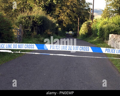 Emergency services at Slieve Gullion forest park in Co Armagh, where a contractor working for Northern Ireland Water died after he was hit by a falling tree as Storm Ali wreaked havoc across Ireland. - Stock Photo