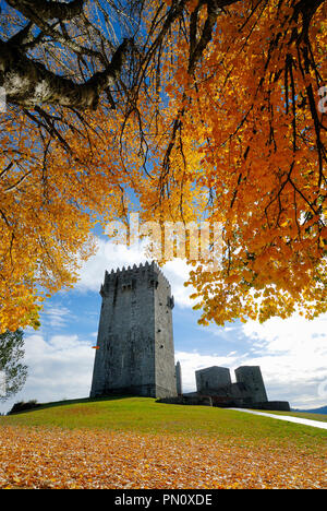 The medieval castle of Montalegre, dating from the 13th century, at sunset in Autumn. Tras os Montes, Portugal - Stock Photo