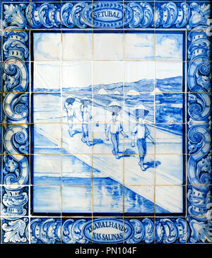 Salt pans. Traditional tiles at the Pinhal Novo railway station. Portugal - Stock Photo