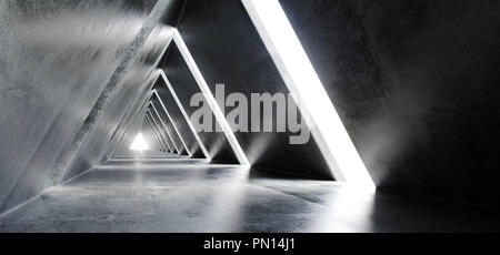 Empty Long Light Polished Concrete Modern Sci-Fi Futuristic Triangle Shaped Construction Tunnel Corridor 3D Rendering Illustration - Stock Photo