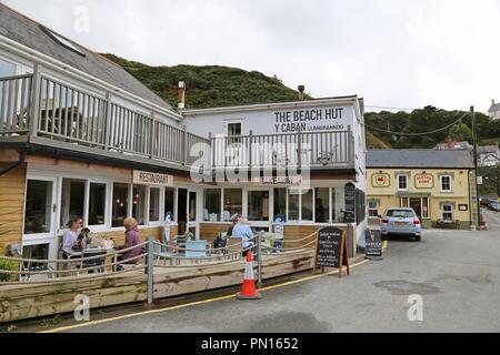 Beach Hut restaurant and Pentre Arms, Llangrannog, Cardigan Bay, Ceredigion, Wales, Great Britain, United Kingdom, UK, Europe - Stock Photo
