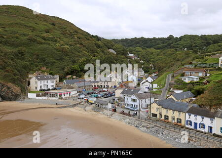 Llangrannog seen from the Pen-rhip headland, Cardigan Bay, Ceredigion, Wales, Great Britain, United Kingdom, UK, Europe - Stock Photo