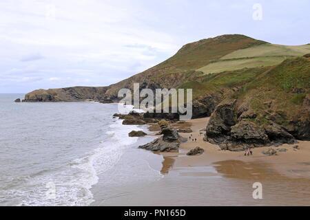 Bica's Rock and Llangrannog beach seen from the Pen-rhip headland, Cardigan Bay, Ceredigion, Wales, Great Britain, United Kingdom, UK, Europe - Stock Photo