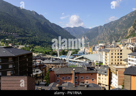 A panoramic view of the city of Andorra la Vella. - Stock Photo