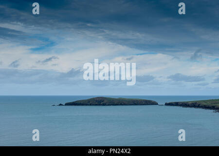 Cardigan Island seen from near Poppit Sands, near Cardigan, Ceredigion, Wales - Stock Photo