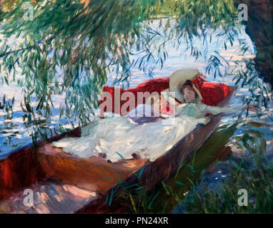 Painting by John Singer Sargent (1856-1925) entitled 'Lady and Child Asleep in a Punt under the Willows', oil on canvas, 1887 - Stock Photo