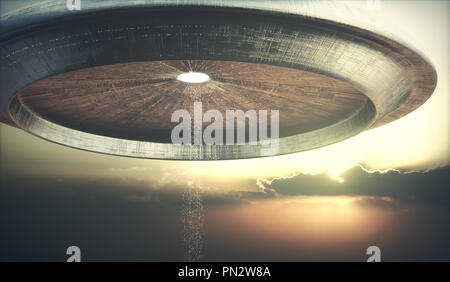 3D illustration of UFO. Alien spacecraft teleporting aliens to the ground. - Stock Photo