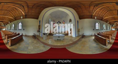 -Bischofswiesen- Pfarrkirche Herz-Jesu / Kirchensaal - Stock Photo