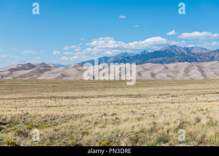 Sand dunes rise above a grassy plain in Great Sand Dunes National Park, Colorado - Stock Photo