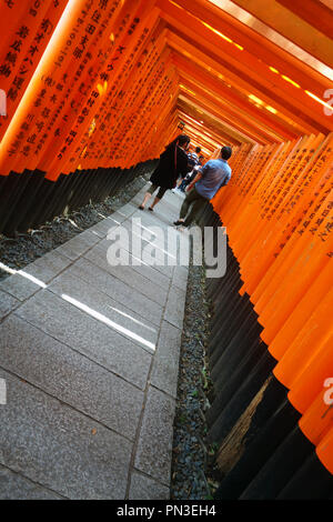 People walking between red torii gates, Fushimi Inari shrine, Kyoto, Japan. No PR or MR