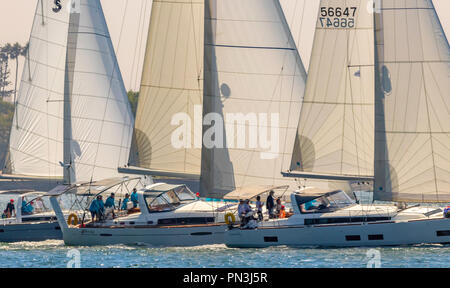 Three Beneteau sailboats moving in a nice formation - Stock Photo