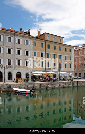 Canal Grande, Trieste, Italy.  Built while Trieste was under the protection and control of the Hapsburgs (Austria), the Grand Canal today is lined wit - Stock Photo