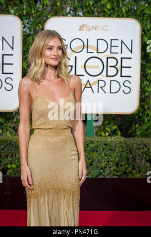 Rosie Huntington-Whiteley, model, arrives at the 73rd Annual Golden Globe Awards at the Beverly Hilton in Beverly Hills, CA on Sunday, January 10, 2016.   File Reference # 32796 118JRC  For Editorial Use Only -  All Rights Reserved - Stock Photo