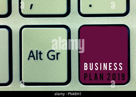 Text sign showing Business Plan 2019. Conceptual photo Challenging Business Ideas and Goals for New Year. - Stock Photo