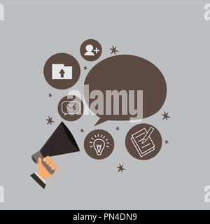 Flat design business Vector Illustration concept template copy space text for Ad website esp isolated 3d isometric. Human Hand Holding Megaphone Talki - Stock Photo