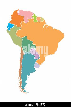 A colorful map of South America on white background - Stock Photo