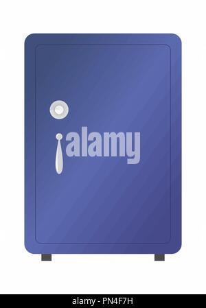 Illustration of an isolated dark blue safe on white background - Stock Photo