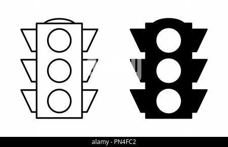 Black and white illustration of isolated semaphores - Stock Photo