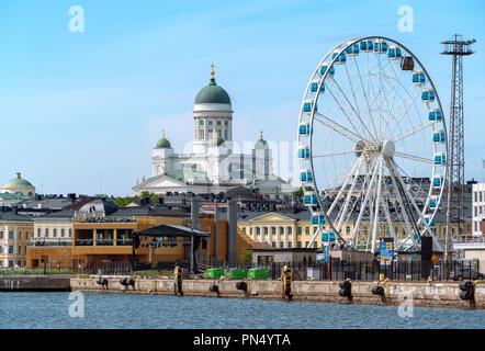Helsinki skyline with Cathedral and Skywheel Sky Wheel ferriswheel Ferris Wheel in summer. Waterfront Helsinki Finland - Stock Photo