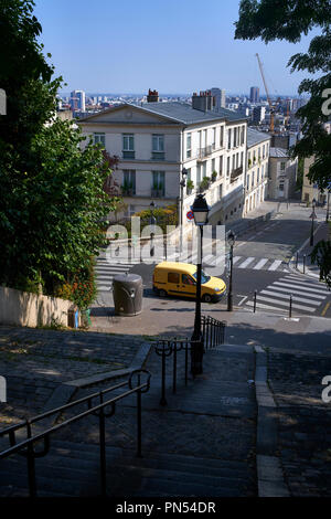 View over Paris from stairway in Montmartre, Paris, France. - Stock Photo