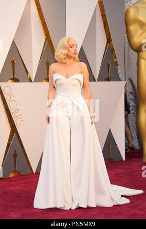 Oscar®-nominee, Lady Gaga arrives at The 88th Oscars® at the Dolby® Theatre in Hollywood, CA on Sunday, February 28, 2016.  File Reference # 32854_384THA  For Editorial Use Only -  All Rights Reserved - Stock Photo