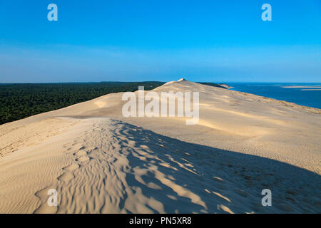 Aerial view of the Pyla dune in the Arcachon Bay. Overview of the dune and the Landes forest (not available for postcard production) - Stock Photo