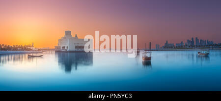 Seafront of Doha park and East Mound-Skyline view - Stock Photo