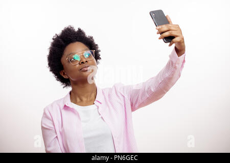 awesome pleasant afro woman making selfie - Stock Photo