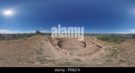 Escalante Pueblo on the hill above the Anasazi Heritage Center - Stock Photo