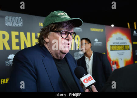 Los Angeles, USA. September 19, 2018: Michael Moore at the Los Angeles premiere for Michael Moore's 'Fahrenheit 11/9' at the Samuel Goldwyn Theatre. Picture: Paul Smith/Featureflash Credit: Sarah Stewart/Alamy Live News - Stock Photo