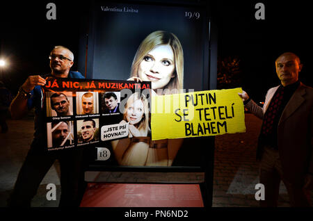 A Prague concert of Ukrainian pianist Valentina Lisitsa held on Wednesday, September 19, 2018, within the Dvorak Prague International Music Festival in the Rudolfinum concert hall was accompanied by protesters distributing leaflets on alleged activities of Lisitsa in support of Russian President Vladimir Putin. About ten people claiming to belong to the Kaputin Facebook group distributed leaflets to the concert-goers that resembled a concert programme, containing information about the alleged activities of the artist, who is of Polish and Russian origin, in private life and on social networks. - Stock Photo