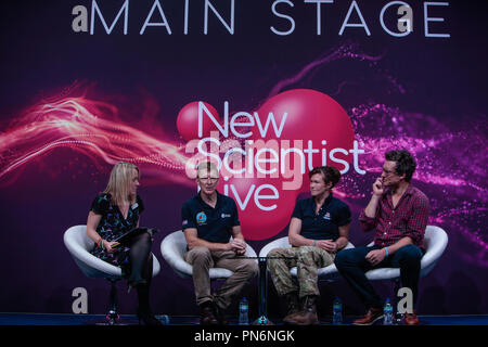 London 20 September 2018 New Scientis Live 2018 Main stage welcomed Tim Peake, European Space Agency (ESA) astronaut of British nationality. He finished his 186-day Principia mission working on the International Space Station for Expedition 46/47 when he landed back on Earth 18 June 2016. Tim has a background as a test pilot and a British Army Air Corps officer@Paul Quezada-Neiman/Alamy Live News - Stock Photo