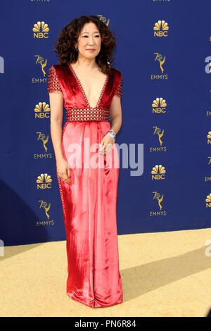 Los Angeles, CA, USA. 17th Sep, 2018. Sandra Oh at arrivals for 70th Primetime Emmy Awards 2018 - ARRIVALS, Microsoft Theater, Los Angeles, CA September 17, 2018. Credit: Priscilla Grant/Everett Collection/Alamy Live News - Stock Photo
