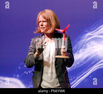 Professor Deborah Greaves talking  about how wind turbines are taking over and producing more power than coal, on the Engineering Stage, at New Scientist Live Credit: John Gaffen/Alamy Live News - Stock Photo