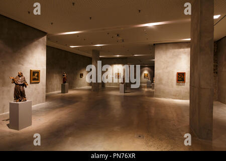 Kosice, Slovakia - August 12, 2018: Sculptures and paintings of the permanent exposition in East Slovak Gallery in Kosice. - Stock Photo