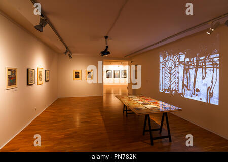 Kosice, Slovakia - August 12, 2018: Temporary exhibition of paintings in East Slovak Gallery in Kosice. - Stock Photo